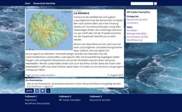 Screenshot der Darstellung eines Einzelbeitrags
