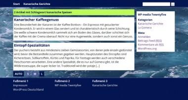Screenshot von Seite mit Schlagwortsuchergebnissen