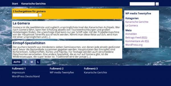 Screenshot von Seite mit Suchergebnissen